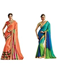 Mantra Fashions Women's Georgette Saree (Mant23_Multi)-Pack of 2