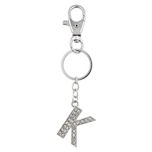 LUX Zubehör Silber Ton Pavé K personalisierte Initiale Tasche Charm Schlüsselanhänger