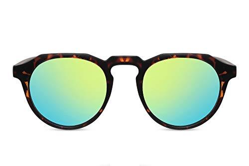 Cheapass Rund-e Sonnenbrille Braun Schwarz UV-400 Leopard-Print Festival-Brille Plastik Damen Herren