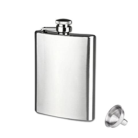 Culater®Stainless Steel 6 Sizes Pocket Hip Flask Alcohol Whiskey Liquor Screw Cap + Funnel (8oz)