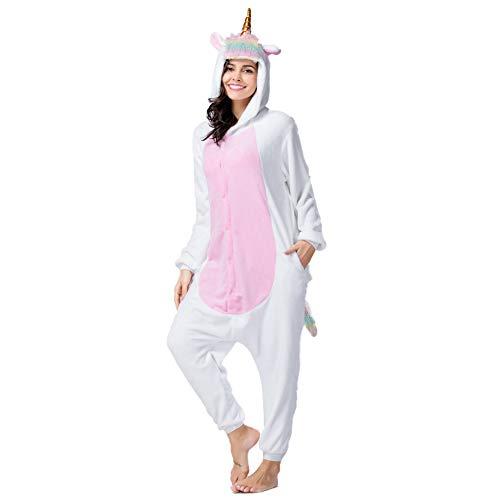 Kostüm Tierische - BERTHACC Tier-Kostüm Für Erwachsene Unisex-Modell Einteiler Jumpsuit Ideal Pyjama Oder Flanell Einhorn Tierische Cosplay-Verkleidung,Rosa,S