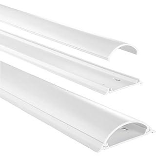 Hama Kabelkanal selbstklebend PVC (Kabelabdeckung halbrund 7 cm x 100 cm, bis zu 8 Kabel in einer Leiste, Kabelschacht zum verstecken von Kabeln) weiß