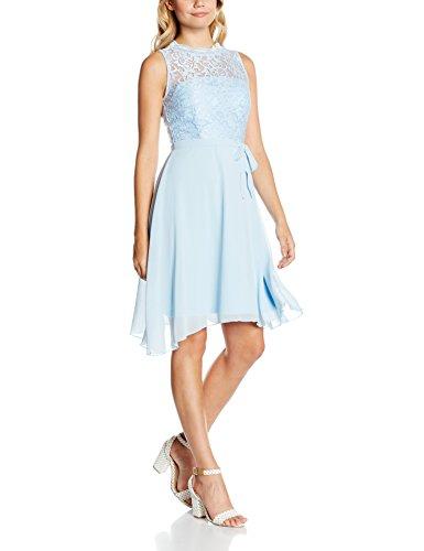Intimuse Damen ärmelloses Cocktail Kleid mit Spitzendetails, Blau (Eisblau 051), 36