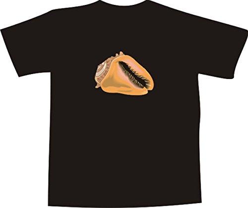 T-Shirt E557 Schönes T-Shirt mit farbigem Brustaufdruck - Logo / Grafik - minimalistisches Design - schöne große Südsee Muschel Weiß