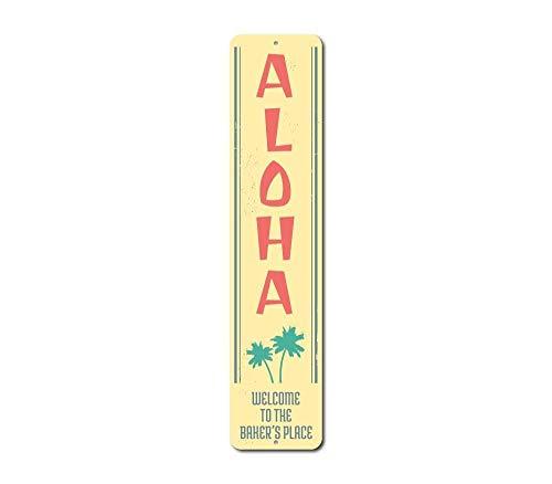 Dekoschild Aloha Palmen Vertikales Schild Namensschild Namensschild Willkommen Ort Ocean Lover Geschenk Metall Strand Haus Dekoration Neuheit Metall Aluminium Weihnachten Blechschild Geschenk (Metall-buchstaben-wand-dekor)