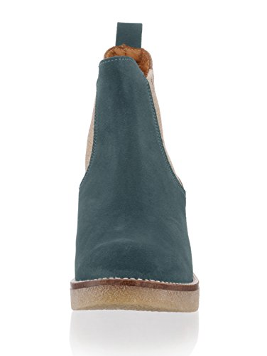 Damen Chelsea-Boot in modischem Leder-Mix by Alba Moda petrol/altsilber