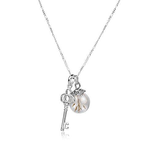 MadamLili 925 Silber Echte Pusteblumen Kette mit Schlüssel 5