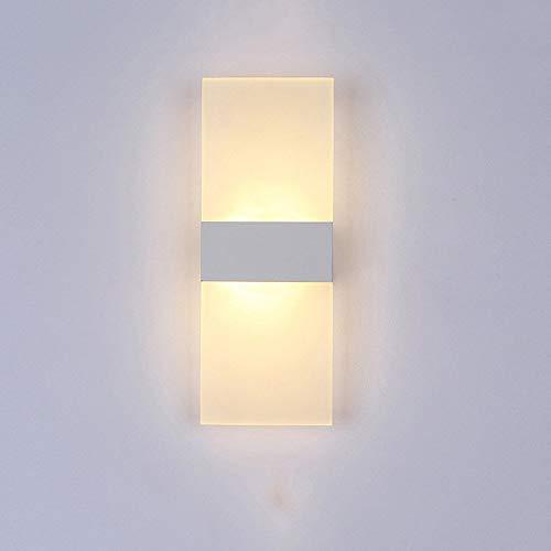 AZWE Kreative Einfachheit Led Nachttischlampe Wandleuchte Moderne Nordic Acryl Schlafzimmer Wohnzimmer Restaurant Hotel Studie Korridor Gang Licht Dekoration Wandleuchte,Viereckig weiß