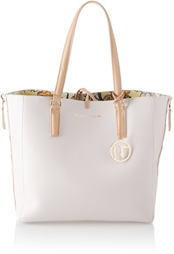 Trussardi Jeans Damen Kuala Lumpur Ecoleather Orchid Print Shopping Bag Schultertasche, Weiß (Off White), 31.5x32x14 centimeters (Leder-tote Off-white)