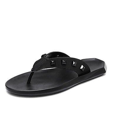 Slippers & amp da uomo;Estate PU comfort informale all'aperto Sandali Nero Bianco sandali US9.5 / EU42 / UK8.5 / CN43