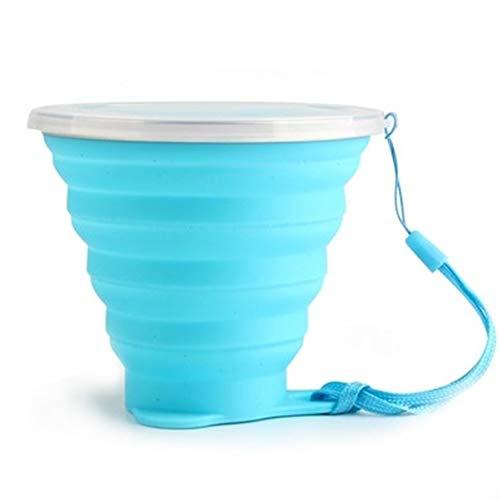 Sungpunet silicone pieghevole da viaggio-tazza da viaggio tazza campeggio, picnic 300ml tazza da campeggio pieghevole in silicone con copertura antipolvere blu