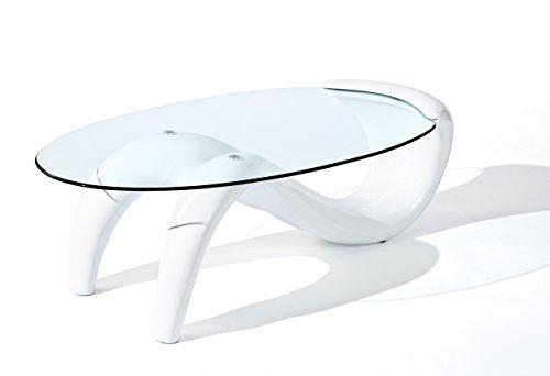 50100095 Couchtisch weiß hochglanz Glastisch Wohnzimmertisch Wohnzimmer Tisch Glas modern