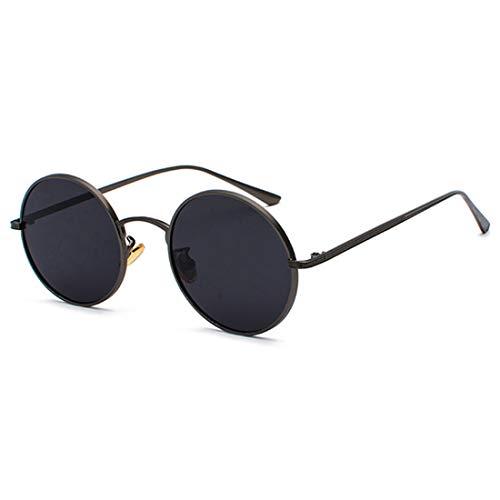 Inlefen Sonnenbrille Männer Frauen Runde Retro Vintage Kreis Stil Sonnenbrille Farbige Metallrahmen Brillen schwarz grau