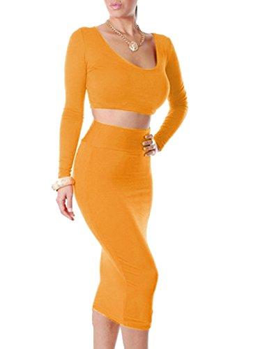 Pour femme à manches longues et col haut avec Belero DROIT DE JUPE Orange - Orange