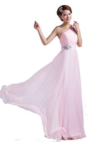 PLAER femmes oblique sangle diamant robe robe de mariée de mariée Cocktail robe de soirée sexy Rose pâle