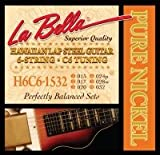La Bella Hawaiian Lap Lot de 6 cordes de guitare en acier et nickel C6