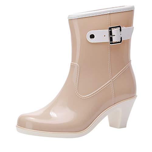 Dorical Wasserdicht Stiefel für Damen/Frauen Gummistiefel Halbschaft Regen Stiefel Hohe Knöchel Boots Gummistiefeln der Frauen Glatt Stiefeletten(Beige,37 EU)