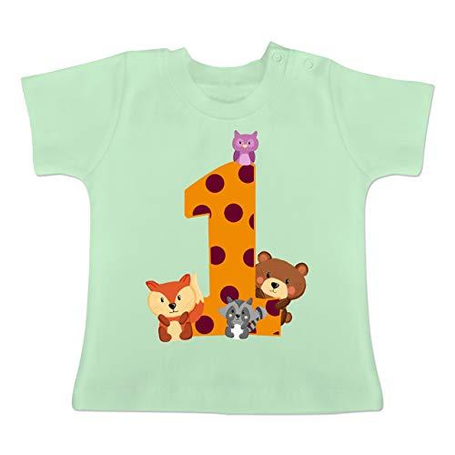 Geburtstag Baby - 1. Geburtstag Waldtiere - 12-18 Monate - Mintgrün - BZ02 - Baby T-Shirt Kurzarm (1. Jungen-geburtstag Shirt)