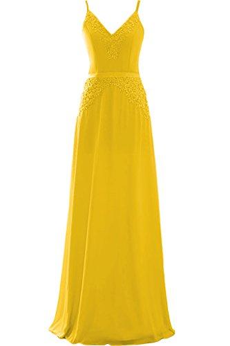 Ivydressing Damen V-Ausschnitt Spaghetti A-Linie Chiffon&Spitze Promkleid Lang Festkleid Abendkleid Golden