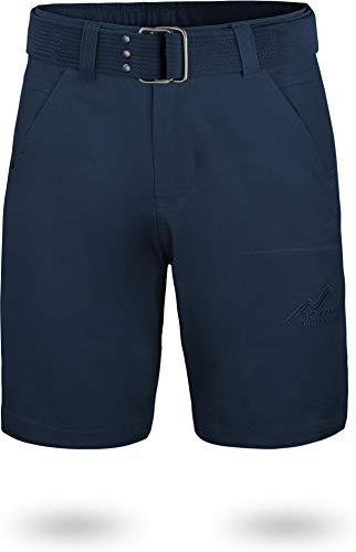 normani Chino Shorts Sommer Bermuda mit Gürtel für Herren aus 100% Bio-Baumwolle - Regular Fit Farbe Navy Größe S Bio Chino