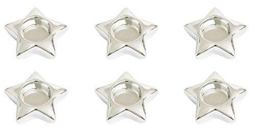 6x Offizielles Yankee Candle Silver Star Geformter Teelichthalter Dekoration Zubehör-Kerzen Nicht im Lieferumfang Enthalten (Silver Star Dekorationen)