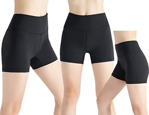 MandH HK Damen Hoher Bund mit versteckter Tasche Yoga-Shorts Bauchkontrolle Workout Laufen Yoga Ausrichten Shorts - Schwarz - XL (Womens Pants Spandex Capri)