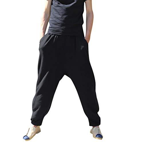 Meilily_Herren shirt Männer Jogging Hosen Herren Yoga Cargo Hose Baumwolle Leinen Hosen Trainingshose Sommer Loser Aladdin Bermuda Sporthose Pumphose Jogginghose Sweatpants Jogger Laufen Fitnesshose -