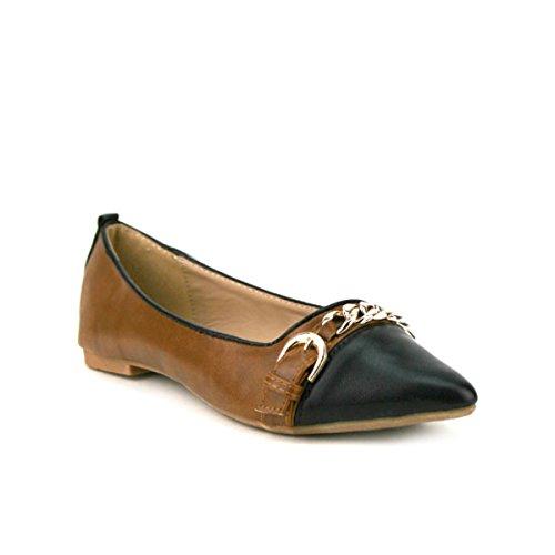 Cendriyon, Ballerine Marron à Bout Pointu ANAEL Chaussures Femme Marron