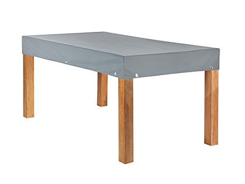 Teak Safe Atmungsaktive Tischplattenhaube Grau eckig 180x100cm mit 15cm Abhang und Ösen im Saum vollflächig atmungsaktiv