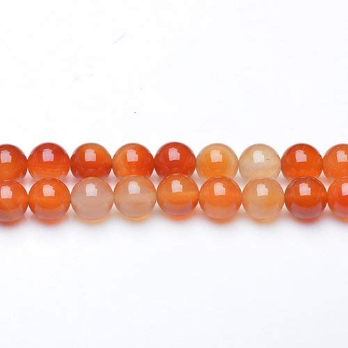 Fil De 37+ Orange/Blanc Cornaline 10mm Rond Perles GS17712-4 (Charming Beads)