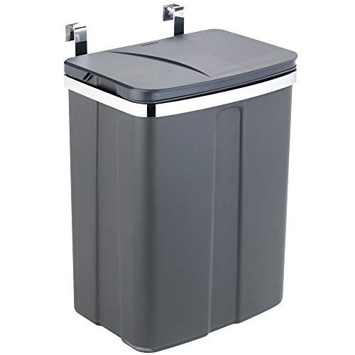 Wenko Tür-Abfalleimer - Schrank-Abfalleimer, Küchen-Mülleimer Fassungsvermögen: 12 l, 26 x 34 x 17 cm, grau
