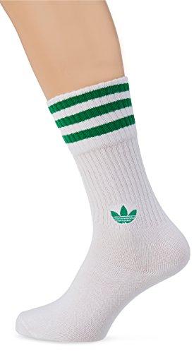 Adidas Solid Crew 2PP Socken, Unisex Erwachsene, Mehrfarbig (vercen / weiß / grün), XL (Herstellergröße : 43-46)