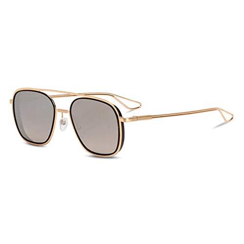 HQMGLASSES Double Beam Gradient Lens Sonnenbrille-Fashion Women Men Vintage Retro Gold Frame Aviator Brille UV400 Sun Glasses,01