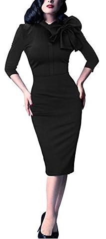 SunIfSnow - Robe spécial grossesse - Moulante - Uni - Manches 3/4 - Femme - noir - XX-Large
