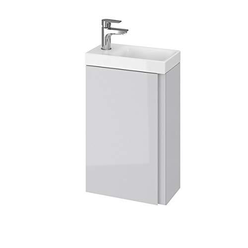 VBChome Das Moduo-Set Slim Grau 40 cm Waschplatz Badmöbel Hochglanz Oberfläche Kleines Gästebad Bestehend aus Waschplatz und Waschbecken Schmale Badezimmermöbel für Gäste WC
