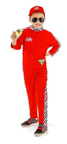 Zubehör Auto Rennen Kostüm - Folat 21904 - Kinderkostüm Rennfahrer, rot, 6-8 Jahre