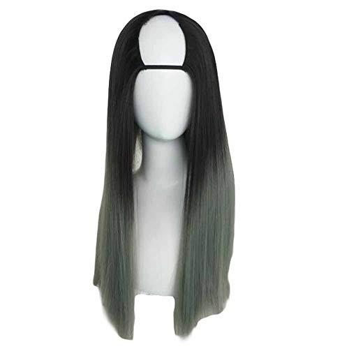 Noir/Gris cendré 65 cm en forme de U 2 cosplay perruque Full Tone longue perruque cheveux raides