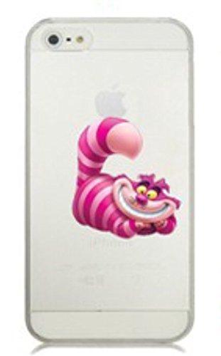 Phone Kandy® Claro transparente Caso de Shell duro de la piel y la pantalla del protector para el iPhone de la historieta carcasa funda (iPhone 5 5s SE, Cheshire Cat)