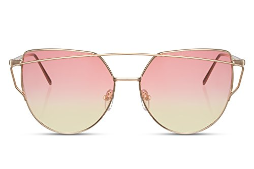 Cheapass Sonnenbrille Rund-e Katzenauge-n Cat-Eye Rosa Gold UV-400 Designer-Brille Metall Damen Frauen