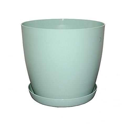 Flower Pots ,6 Colours ,3 sizes, Mat Plastic Plant Pots Planter + Saucer Tray (14 cm, Green Mat)