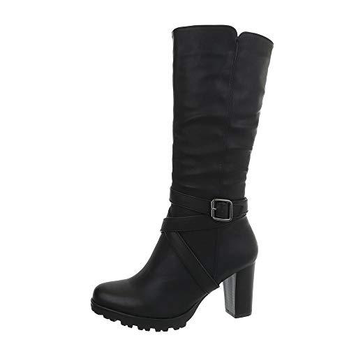 Ital-Design Damenschuhe Stiefel High Heel Stiefel Synthetik Schwarz Gr. 40