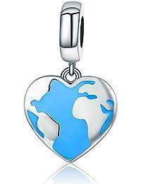 f1b247fa9672 Abalorio de plata de ley 925 con diseño de mapa en forma de corazón para  pulseras