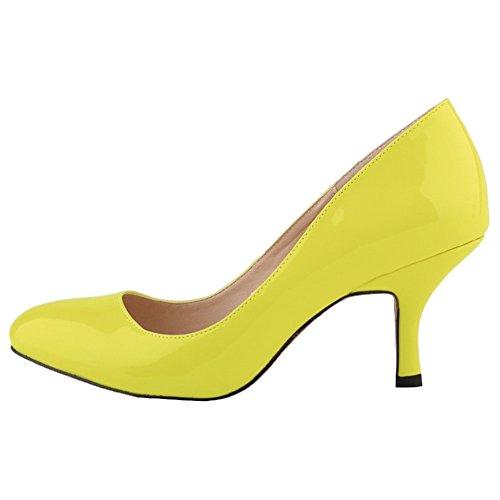 HooH Femmes Kitten Heel Mariage Escarpins Mary Jane Chaussures Citron