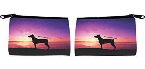 Rikki Knight Rottweiler, deutsche Design Hund bei Sonnenuntergang Scuba Schaumstoff Coin Geldbörse (Rottweiler Geldbörse)