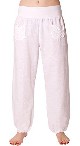 FASHION YOU WANT Damen Leinenhose Größe 36/38 bis Größe 50/52 aus 100% Leinen - Leichte Sommerhose Tunnelbund mit Gummizug und 2 Aufgesetzten Taschen Vorne - Weiter Schnitt (40/42, weiß)