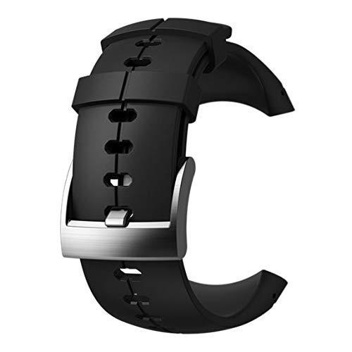 Suunto, Original Ersatz-Uhrenarmband für alle Suunto Sparten Ultra Uhren, Silikon, Länge: 24,5 cm, Stegbreite: 25 mm, Schwarz/Silber, Inkl. Stifte zur Montage, SS022689000