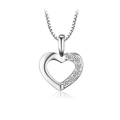 JewelryPalace Zircon Cubique Coeur Amour Collier Pendentif en Argent 925 16 Pouces
