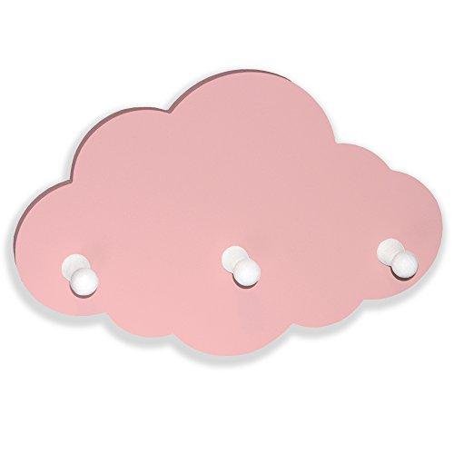 luvel - (G52) Kindergarderobe mit 3 Haken, Garderobe Kinderzimmer, Babyzimmer Wandgarderobe, Kleiderhaken, Wandhaken, Kindermöbel, Garderobenhaken Maße Wolke : 30 x 20 x 1 cm, Wolken rosa