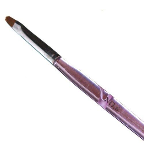 N&BF Profi Gel Pinsel flach Größe 6 | Griff Pink/Rosa | Nagel Studio Pinsel Rotmarder Haar | Nailart Pinsel für Nageldesign | Kolinsky Brush Acryl & Gel Modellagen | Premium Echthaar-Pinsel