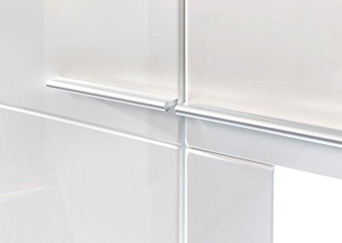 Wohnwand Wohnkombination inkl. Glaskantenbeleuchtung mit Standvitrine, Vitrine, Wandboard, TV-Board und TV-Aufsatz in Hochglanz Weiß – Neues Modell!!! - 5
